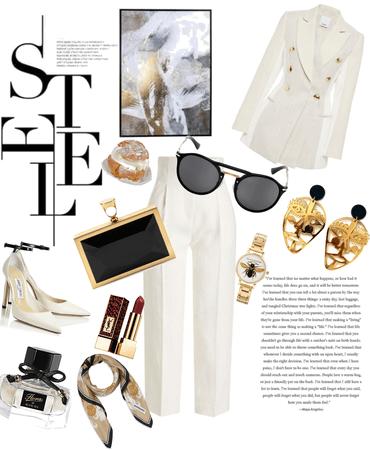 cream pant suite