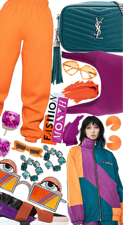 Orange ,Magenta and teal color block