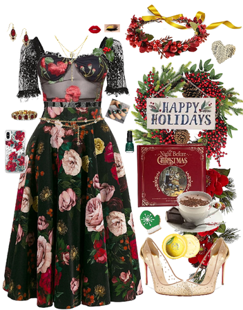 Happy Holidays Red Black Green Yellow Gold
