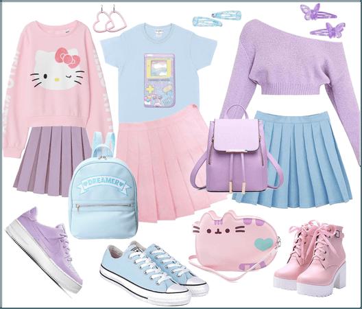 pretty pastel pleated skirts