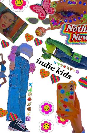 indie kid outfit 💚🧡🤎💛💙❤️💜🤍