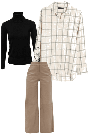 tuck in oversized flannel in the khakis