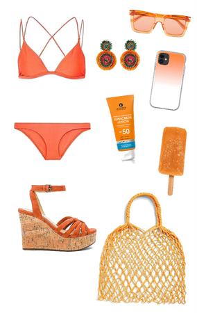 Orange Pool Party Look