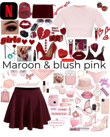 blush pink and maroon