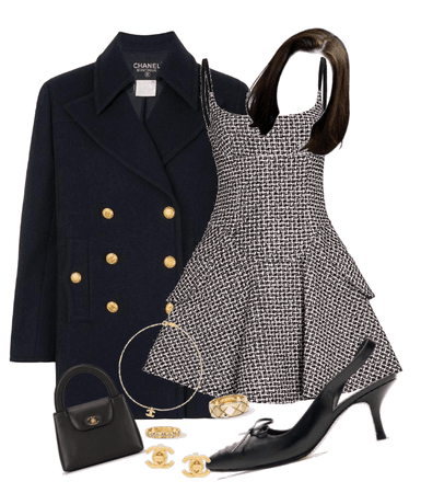 Evening- B&W Chanel Tweed Minidress