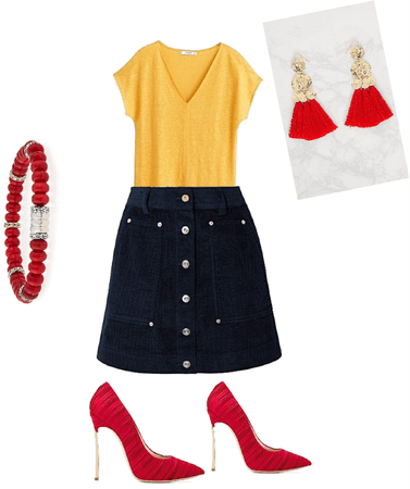 I created a triadic outfit with red ,orange ,and dark blue this is perfect for a night with friends