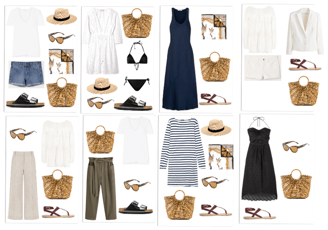 Outfits - Beach Vacation Capsule Closet