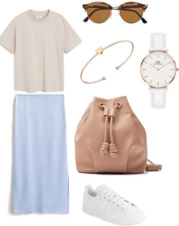 blue satin skirt