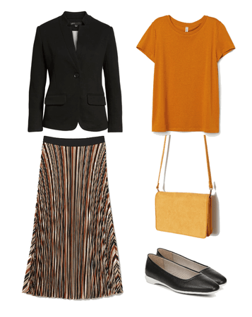 Black and  Office Mustard Outfit