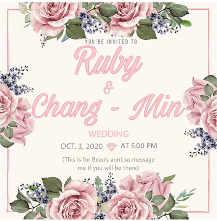 DI-VERSE (Beau's Aunt) Ruby and Chang Min Wedding Invitation