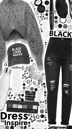 black grey and  white