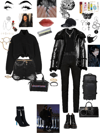 Airport outfit with bodyguard