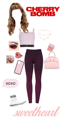 maroon and soft pink outfit