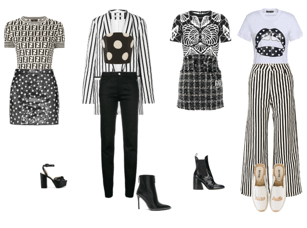Black and White Pattern Mixing