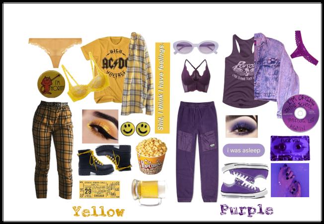 Yellow & Purple Grunge Punk Fashion