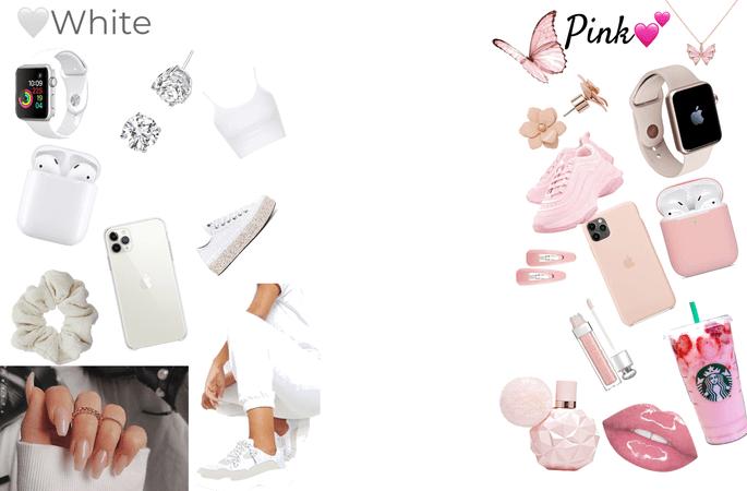 white/ Pink
