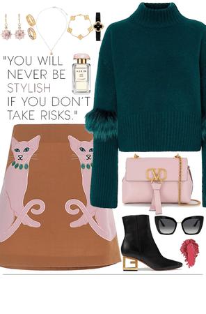 Dark green sweater, cute skirt and gold jewelry look