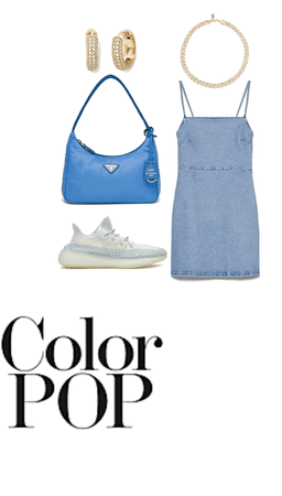 denim dress with sneakers and pops of blue