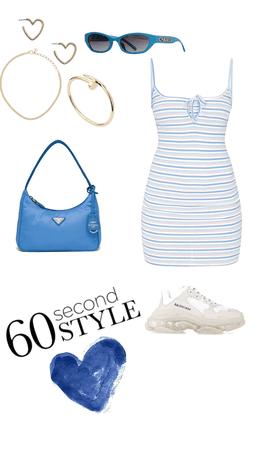 casual dress baby blue  Prada and balenciaga summer
