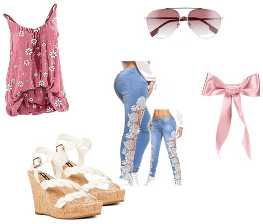 Cute pink spring or summer outfit