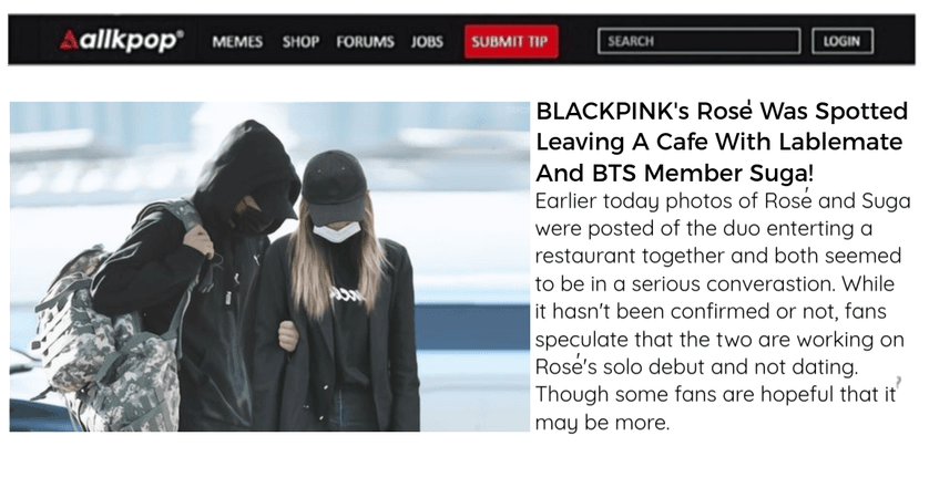 BLACKPINK's Rosè Spotted With Suga - AllKpop