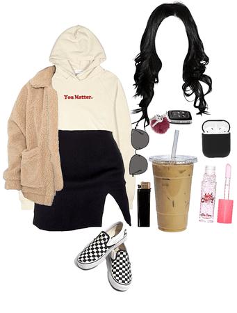skirt an hoodie