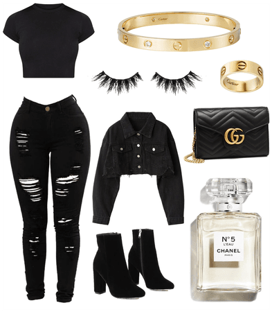 Everyday Casual Black and Gold