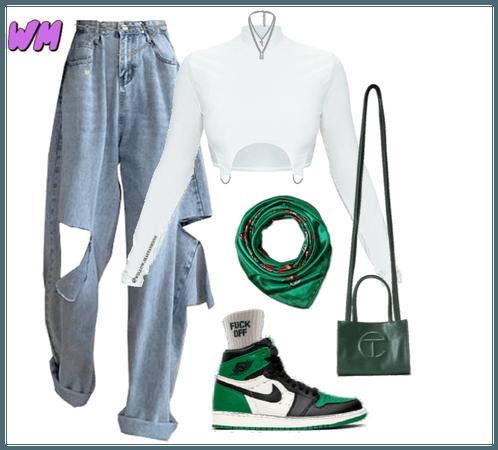 White+green streetstyle