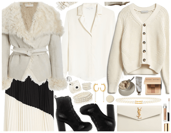 Fuzzy jacket: Cream Outfit