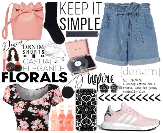 Paperbag Denim Shorts with a Floral Top