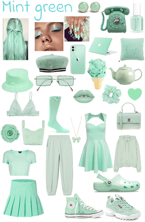monochromatic mint green outfit
