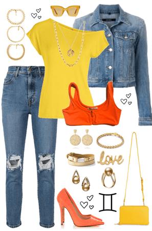Because Geminis Love Jewelry, Yellow, Orange and Denim