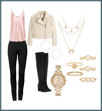 Silk Pink/ Gold OTK boot look