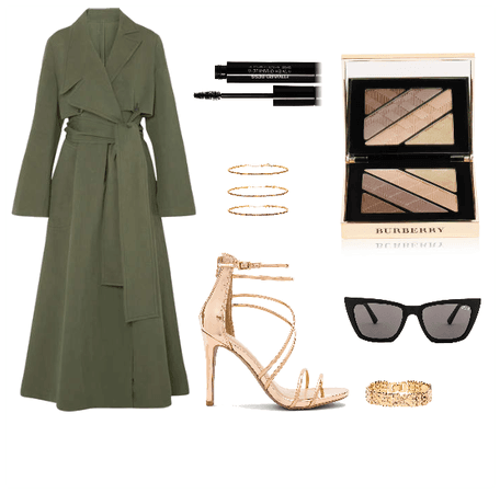 Rose gold and green trench coat