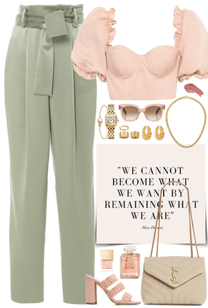 Pink & light green look with gold jewelry