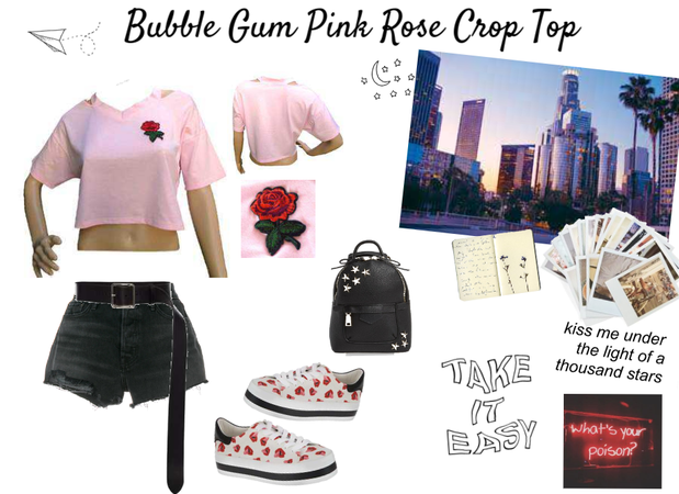 Bubble Gum Pink Rose Crop Top