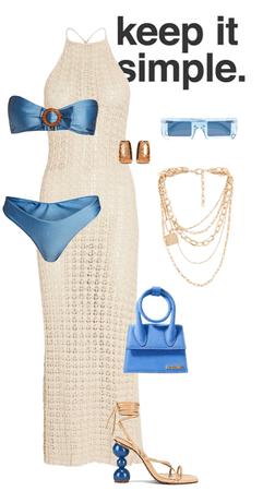 Blue and Beige Swimwear