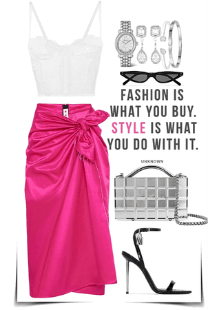 white Lace Top  with Fuchsia Skirt