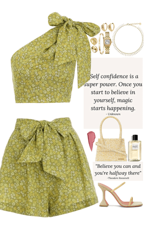 Full green outfit with tiny light yellow bag