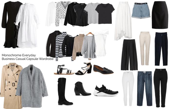 Monochrome Everyday Business Casual Capsule Wardrobe