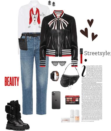 Jeans w/ leather jacket