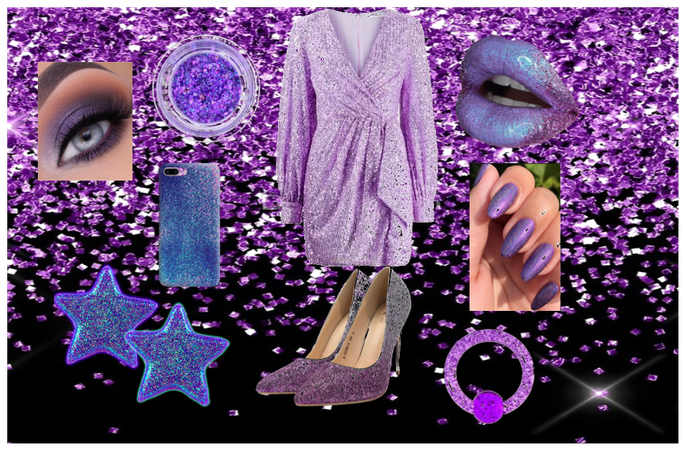 purple glitter outfit.@designsbylex