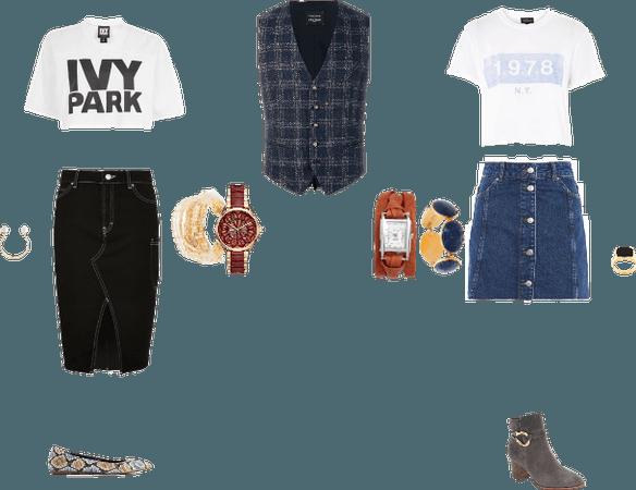 Menswear Vest w/ Cropped Tee