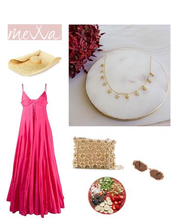 pink dress look