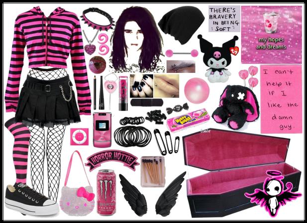 black n pink emo boy