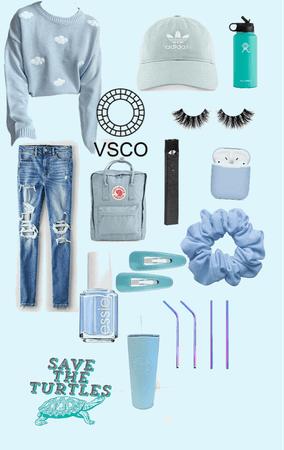 blue aesthetic vsco girl