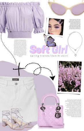 soft girl spring / denim skirt