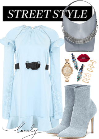 The Light Blue Dress With The Waist Detail.