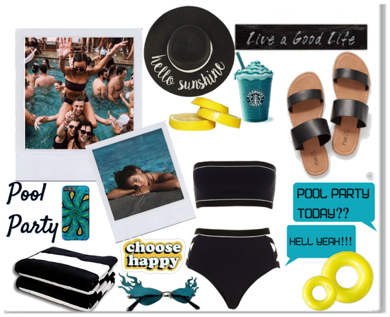 Pool Party; Black, Yellow & Aqua Look