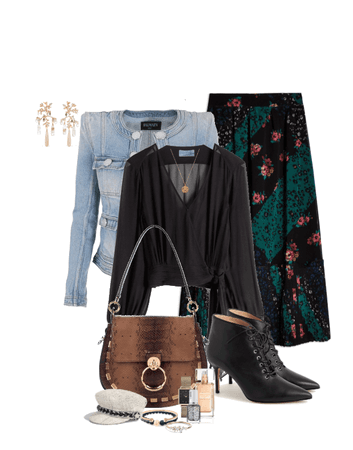 Patchwork Skirt With Denim Jacket